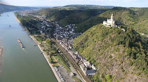 Aerial Marksburg Castle and Philippsburg Palace